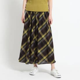 【XS~L・ウエストゴム】ガーゼチェックロングスカート<上品カジュアル> (ダークブラウン)