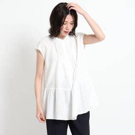 【XS~Lサイズあり・洗える】ピンタックブラウス (ホワイト)