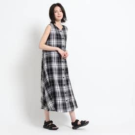 【2WAY/S~M/洗える】Aラインチェックワンピース<新色秋カラー追加> (ブラック)