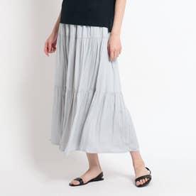 【XS~L・ウエストゴム】ティアードスカート (ライトグレー)