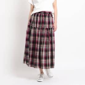 【XS~Lサイズ・ウエストゴム・洗える】ティアードスカート (レットプラム)