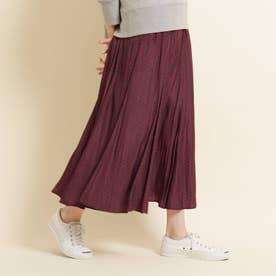 【S~Lサイズあり・洗える・ウエストゴム】小付きプリントスカート (ダークパープル)