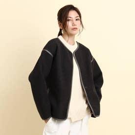 【S~Lサイズあり】クルーネックジャケット (チャコールグレー)