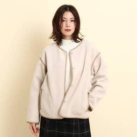 【S~Lサイズあり】クルーネックジャケット (ナチュラル)