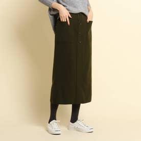 【XS~Lサイズあり・後ろウエストゴム】ストレートスカート (ダークオリーブ)