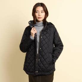 【S~Lサイズあり・2WAY】フーデットキルトジャケット (ブラック)