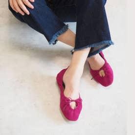 【AKIKO KIZU × Daniella & GEMMA】スクエアトゥギャザーバレエシューズ (ピンクスエード)