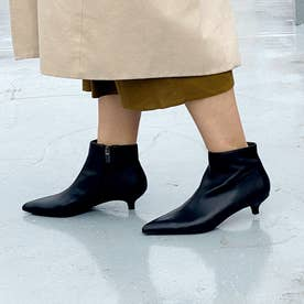 【Water Drops Series】ポインテッドキトゥンヒールショートブーツ (ブラック)