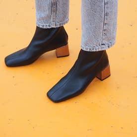 【Gina × Daniella & GEMMA】 【レイン対応】ミラーヒールショートブーツ (ブラック)