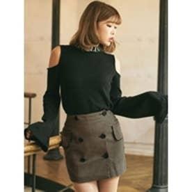 ダブルボタンスカート ブラウン
