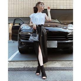 スリットレザースカート (ブラック)