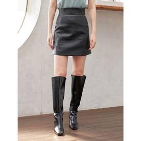 ハイウエストレザースカート (ブラック)