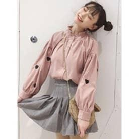 ハート刺繍スリーブシャツ (ピンク)
