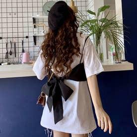 リボンデザインキャミ付カットソーチュニック (ホワイト)