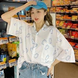 熊柄総柄襟付半袖シャツ 春夏 韓国ファッション (ホワイト)