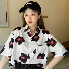 ユニーク総柄襟付半袖シャツ 春夏 韓国ファッション (ホワイト)