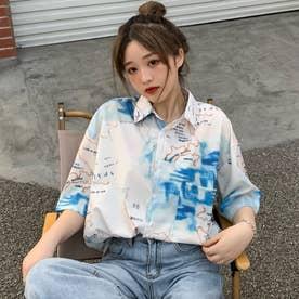 ユニーク柄半袖シャツ 春夏 韓国ファッション (グレーベージュ)