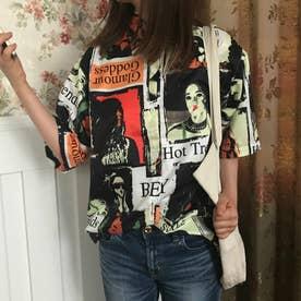 個性的ユニーク総柄襟付半袖シャツ 春夏新作 韓国ファッション (総柄)