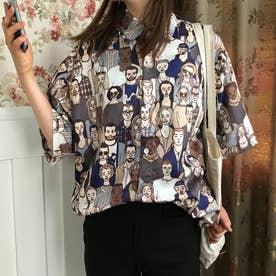 ユニーク総柄襟付半袖シャツ 春夏新作 韓国ファッション (総柄)