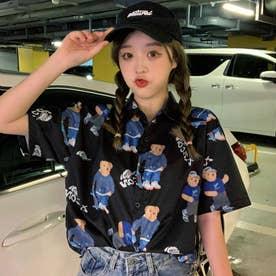 熊柄総柄襟付半袖シャツ 春夏 韓国ファッション (ブラック)