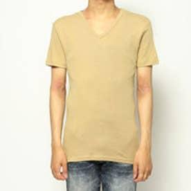 Vネックシャツ/ヨーロピアンコットン (ベージュ)