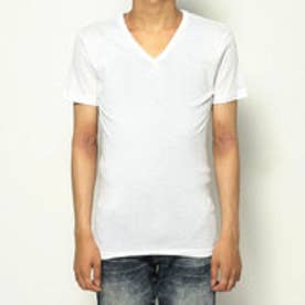 Vネックシャツ/ヨーロピアンコットン (ホワイト)