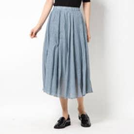広がっていくリネンタッチマキシ丈スカート  (サックス)