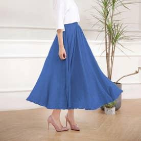 広がっていくリネンタッチマキシ丈スカート  (ブルー)