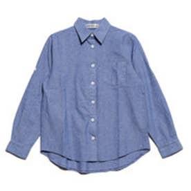 綿混長袖シャツ 袖ロールアップ仕様 (ブルー)