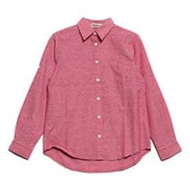 綿混長袖シャツ 袖ロールアップ仕様 (ピンク)