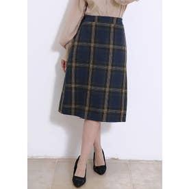 秋冬 韓国ファッションスカートひざ丈 Aライン チェック柄スカート (ブルー)