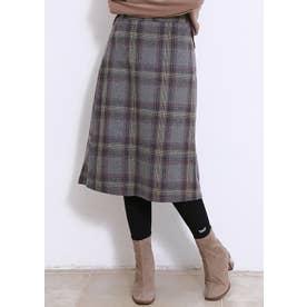 秋冬 韓国ファッションスカートひざ丈 Aライン チェック柄スカート (グレー)
