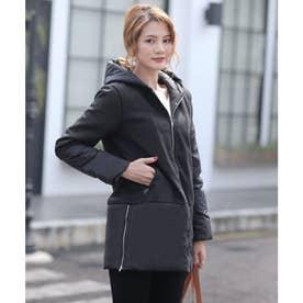 中綿コート レディース 秋冬物 バイカラー 厚手 コート (ブラック)