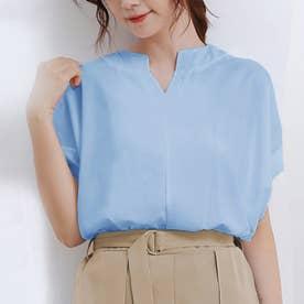 ブラウス レディース 半袖 トップス スキッパーシャツ リネンシャツ シャツ 綿麻混 vネック 五分袖 (ブルー)