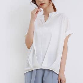 ブラウス レディース 半袖 トップス スキッパーシャツ リネンシャツ シャツ 綿麻混 vネック 五分袖 (ホワイト)