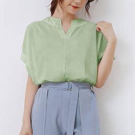 ブラウス レディース 半袖 トップス スキッパーシャツ リネンシャツ シャツ 綿麻混 vネック 五分袖 (グリーン)