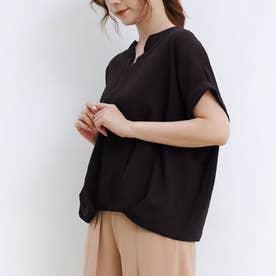 ブラウス レディース 半袖 トップス スキッパーシャツ リネンシャツ シャツ 綿麻混 vネック 五分袖 (ブラック)