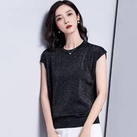 サマーニット 半袖 レディース フレンチスリーブ tシャツ ブラウス  カットソー プチプラ (ブラック)