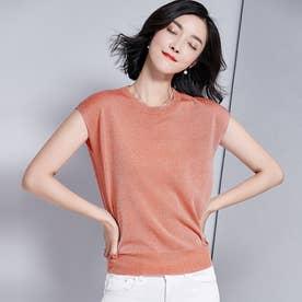 サマーニット 半袖 レディース フレンチスリーブ tシャツ ブラウス  カットソー プチプラ (オレンジ)