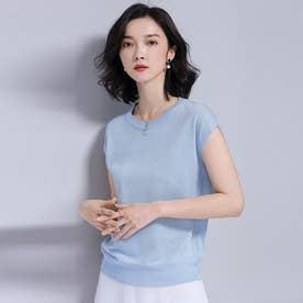 サマーニット 半袖 レディース フレンチスリーブ tシャツ ブラウス  カットソー プチプラ (ブルー)