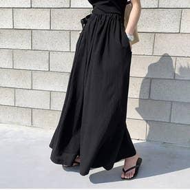 レディース リネン風スカートパンツ (ブラック)