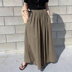 レディース リネン風スカートパンツ (ブラウン)