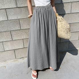 レディース リネン風スカートパンツ (グレー)