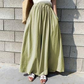 レディース リネン風スカートパンツ (グリーン)