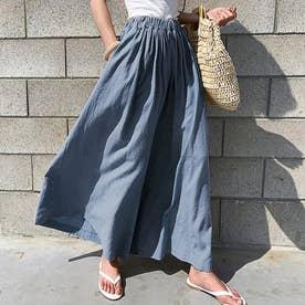 レディース リネン風スカートパンツ (ブルー)
