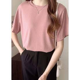 Tシャツ レディース 半袖 トップス カットソー 夏 黒 白 ピンク 伸縮性 通学 通勤 20代 30代 40 (ピンク)