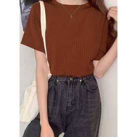 Tシャツ レディース 半袖 トップス カットソー 夏 黒 白 ピンク 伸縮性 通学 通勤 20代 30代 40 (ブラウン)