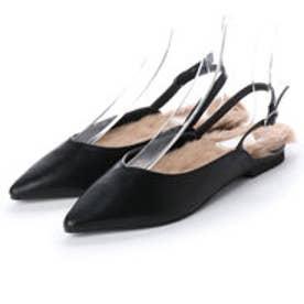 ディファレンス745 レディース ファー パンプス フラットパンプス ストラップ サンダル ポインテッドトゥ ふわふわ 女性 靴 (ブラック)