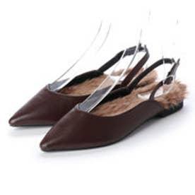 ディファレンス745 レディース ファー パンプス フラットパンプス ストラップ サンダル ポインテッドトゥ ふわふわ 女性 靴 (ダークブラウン)