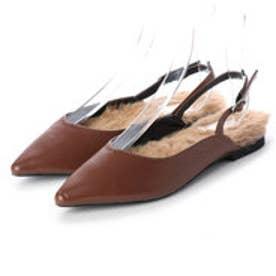 ディファレンス745 レディース ファー パンプス フラットパンプス ストラップ サンダル ポインテッドトゥ ふわふわ 女性 靴 (キャメル)